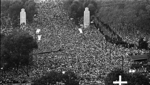 Aerial view of the crowd during Pope John Paul II's mass on October 3, 1979.