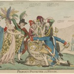 A British satirical drawing about Franco-American relations after the XYZ Affair in May 1798 depicts five Frenchmen plundering female
