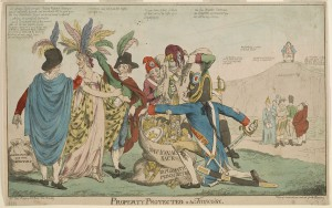 "A British satirical drawing about Franco-American relations after the XYZ Affair in May 1798 depicts five Frenchmen plundering female ""America,"" while five figures representing other European countries look on."