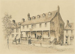A sketch of the Tun Tavern, as it stood in 1780. There are people on the stairs outside, as well as others walking down the street