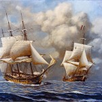 This scene painted by Rear Admiral John William Schmidt (Ret.) (1906-1981) depicting the action of February 9, 1799, when the USS Constellation, commanded by Captain Thomas Truxtun, captured the French frigate L'Insurgente.