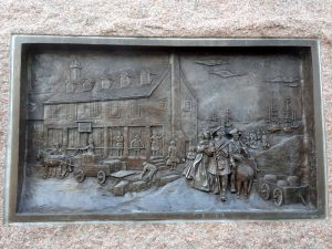 photo of bronze plaque at the Scottish