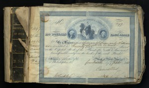 Image of 1860 Stock Certificate for the Bank of North America.
