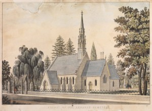 Lithograph of the Chapel at the Lebanon Cemetery.