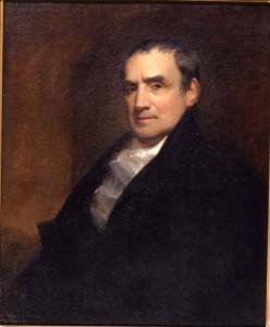 A painted portrait of Mathew Carey.