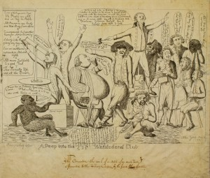 A political cartoon satirizing the Democrtatic-Republican societies of the time.