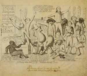 A political cartoon satirizing the Democrtatic-Republican societies of the time.