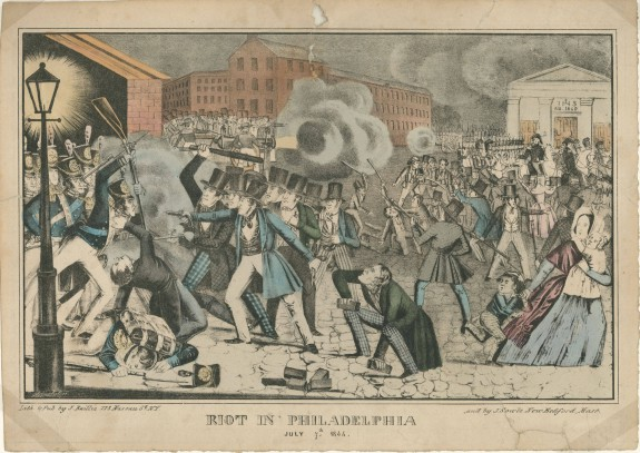 During nativist riots in 1844, crowds menaced the Catholic Church of St. Philip de Neri in the district of Southwark. (Library Company of Philadelphia)
