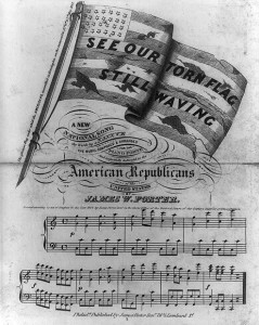 Illustrated sheet music cover glorifying the nativist cause, produced shortly after the bloody anti-Catholic riots in Kensington, Philadelphia, of May 1844.
