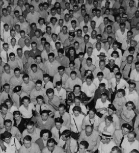 Photograph of whites striking against the end of discriminatory promotion practices at PTC.
