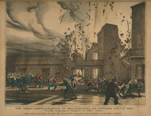 A print of a gunpowder explosion that occurred in Philadelphia in July of 1856.