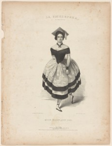 A drawing of Mary Ann Lee, who is centered on an otherwise plank piece of paper. She is dressed to dance La Smolenska and wears an off the shoulder dark top, a light colored full skirt with two dark stripes on the hem, and a motorboard on her head.