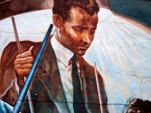 Willie Mosconi depicted in portion of a mural in 1400 block of South Street