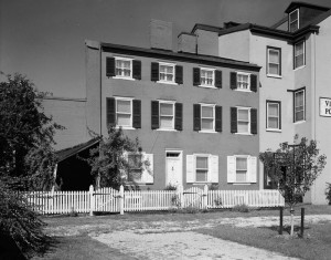 black and white photo of the Edgar Allen Poe House in Philadlephia.
