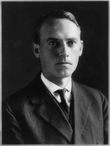 a black and white photograph of Scott Nearing