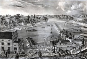 Artistic representation of the Schuylkill River, featuring the Fairmount Water Works in the foreground. On the west bank of the river, a house and a canal lock built by the Schuylkill Navigation Company can be seen.