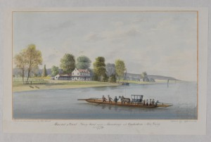 a color engraving of a man-powered early ferry crossing the Delaware River