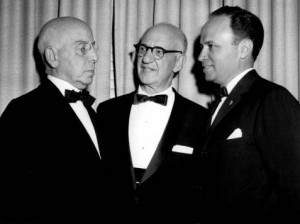 A black and white photograph of Horace Stern, Lewis Levinthal, and an unidentified man wearing tuxedos.