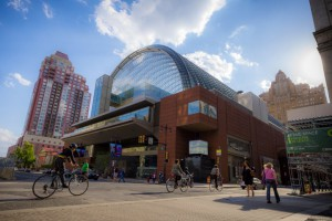 A color photograph of the Kimmel Center in daylight