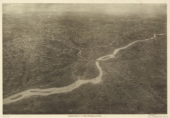 A bird's-eye view map, c. 1926, depicts roads and highways linking Philadelphia to the region. Roosevelt Boulevard extends from North Broad Street into the Northeast. (Library of Congress)