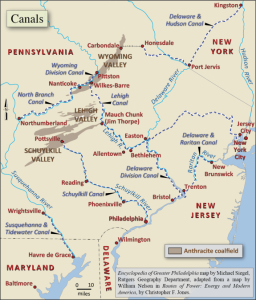 Map illustrating the many canals of the Delaware Valley, the canal linking Pottsville to Philadelphia was created by the Schuylkill Navigation Company.