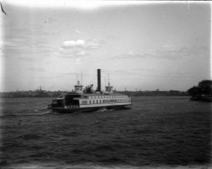 A black and white photograph of the Columbia ferry crossing the Delaware River
