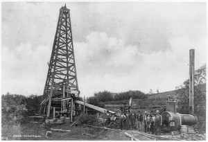 A oil rig from 1900 in Titusville Pennsylvania.