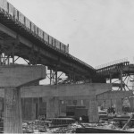 A black and white photograph of the Frankford El