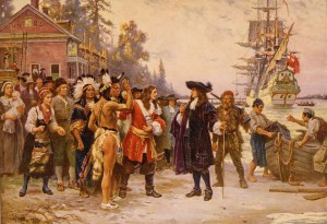 Color print of a drawing depicting Penn's landing in Philadelphia. The Englishman is greeted by a group of men, women, and children who are a mix of European colonists and Native Americans.