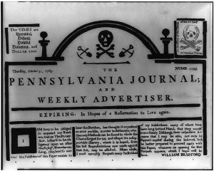 Masthead of the Pennsylvania Journal and Weekly Advertiser, October 31, 1765