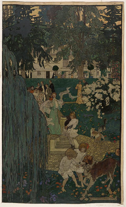 An illustration by one of the Red Rose Girls, Elizabeth Shippen Green, depicts the artists on the grounds of the Red Rose Inn. (Library of Congress)