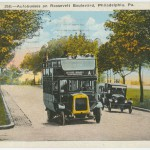 Postcard depicting bus on Roosevelt Boulevard.