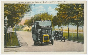 Postcard depicting bus on Roosevelt Boulevard.