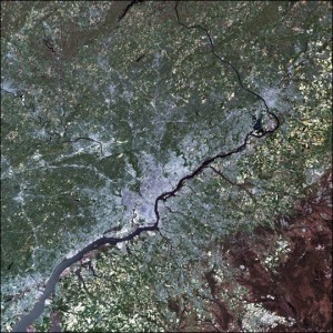 A satellite image of Philadelphia, demonstrating how land is used throughout the region.