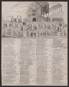 A cartoon that shows the old courthouse in Philadelphia during the 1764 election.