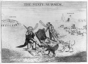 """A 1781 London print shows the Earl of Mansfield, seated, and the Earl of Sandwich keeping watch over the British lion, who is asleep in a cradle surrounded by four barking dogs labeled """"Holland,"""" """"America"""" (urinating on a paper labeled """"Tea Act""""), """"France,"""" and """"Spain""""."""