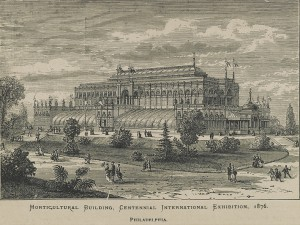 An engraving of Horticulture Hall, a large glass and iron building in the Moorish style, from 1876