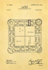 Lizzie Magie's Landlord's Game patent showing the board game, dated January 5, 1904