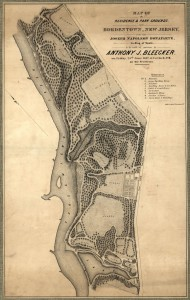 A black and white map of the Point Breeze site during Bonaparte's residence showing house and grounds