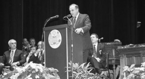 A black and white photograph of Mayor Ed Rendell giving his inaugural speech.