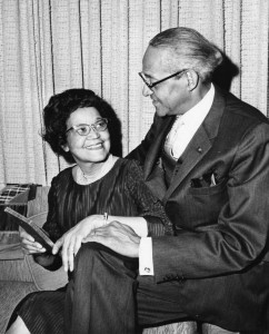A black and white photograph of Sadie Mossell Alexander and Raymond Pace Alexander seated in their home