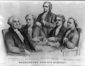 black and white lithograph depicting president washington and his four person cabinet, steated around a table. The president is seated to the left of the photo and is seated. only alexander hamilton, in the middle, is standing.