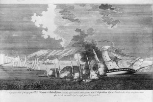 Illustration of Tripolitan gunboats firing upon the USS Philadelphia.
