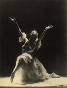 black and white photo of ballerina Catherine Littlefield striking a pose in a promotional photo of her era.