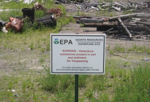 The EPA superfund site sign at the site of the Quanta Resources in Edgewater, New Jersey.