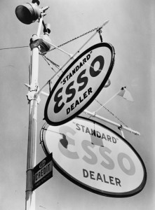 A painted porcelain Esso gasoline sign, on the corner of Chestnut St.