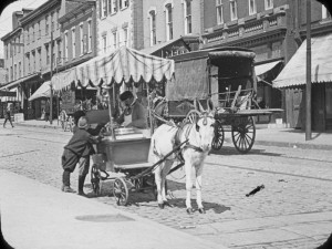 A street vendor on Germantown Avenue in 1910 with his donkey drawn cart.