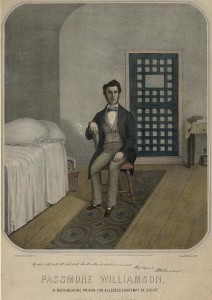 A depiction of Passmore Williamson being held in Moyamensing Prison.