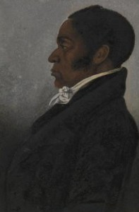 A portrait of James Forten, who was a prominent African-American figure in antebellum Philadelphia.