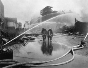 Image of firefighters at the Publicker Industries fire in 1992.